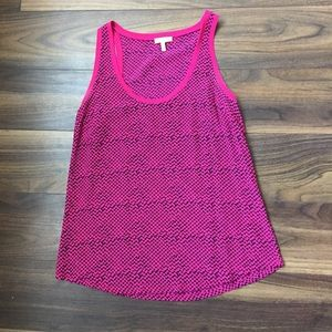 Pink and black Joie patterned silk tank top size S